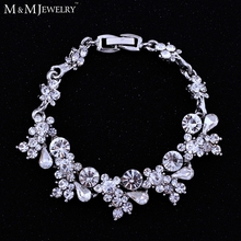 Silver/Gold Color Crystal White K Gold Plated Bracelet Wedding Accessories Bridal Jewelry Bracelets for Women SL079(China (Mainland))