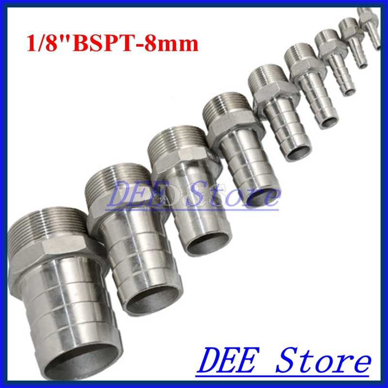 """1/8""""BSPT Male Thread Pipe Fittings x 8 MM Barb Hose Tail Connector Joint Pipe Stainless Steel SS304 connector Fittings(China (Mainland))"""