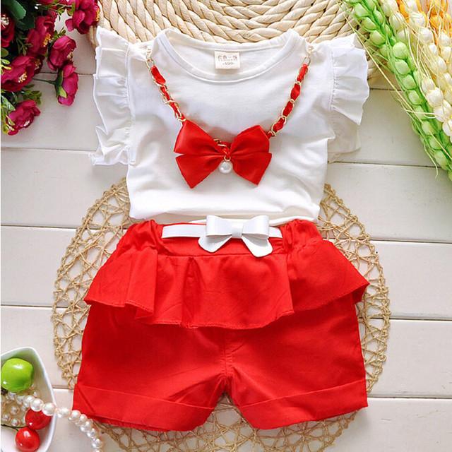 2016 девушки комплект одежды младенца лета мода одежды девушки детей дети костюм ...