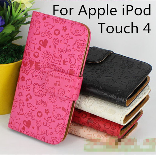 High Quality Luxury Lovely Cartoon Flip Leather Cover Case for Apple iPod touch 4 4th With Card Holder Stand Design (XMN01)(China (Mainland))