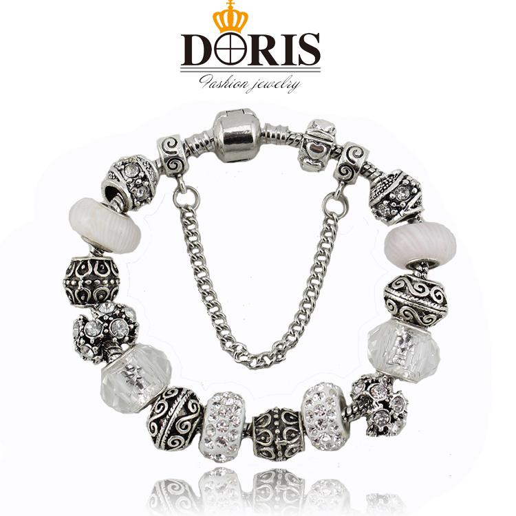Fashion Jewelry Charm Bracelets & Bangles Women Silver Zinc Alloy European beads bracelets Bijoux - DORIS ACCESSORIES store
