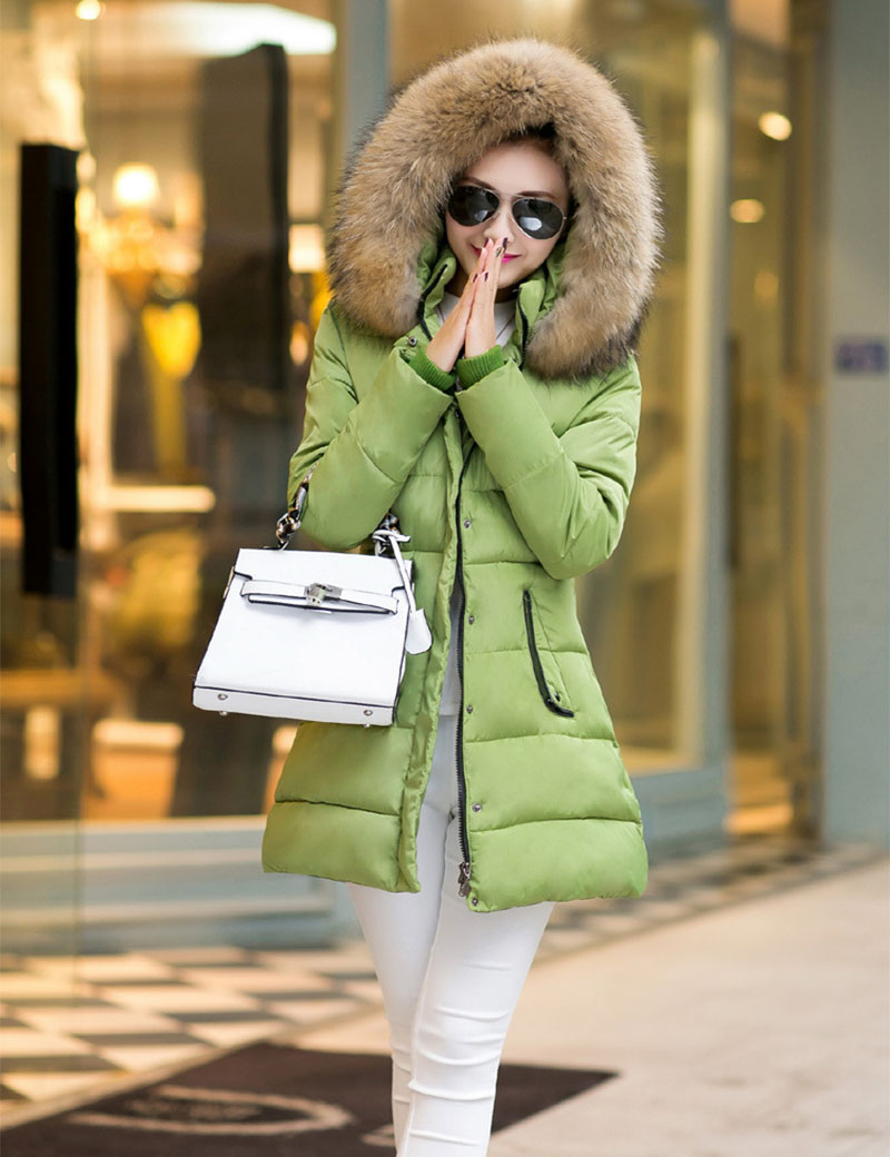 2015 New Fashion Women Coat Winter Down Parkas Coat Thick Double Breasted Fur Collar Candy Color Duck Down Jacket for girl CD19