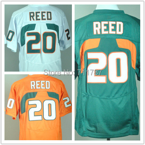 Free shipping Jerseys Miami Hurricanes #20 Ed Reed jersey Top Quality White Green Orange football jersey size 48-56(China (Mainland))