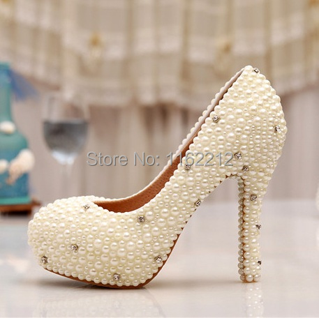Pluse Size 34~43 Ivory Pearl Rhinestone Dress Party Prom Shoes Evening Pumps Ladies Wedding Women High Heels 2015 - Fastyle Bridal Store store