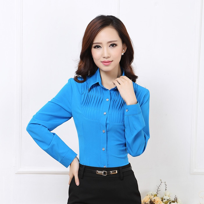 Unique Blue Shirts Women Long Sleeve Blouse Ladies Office Uniform Shirts
