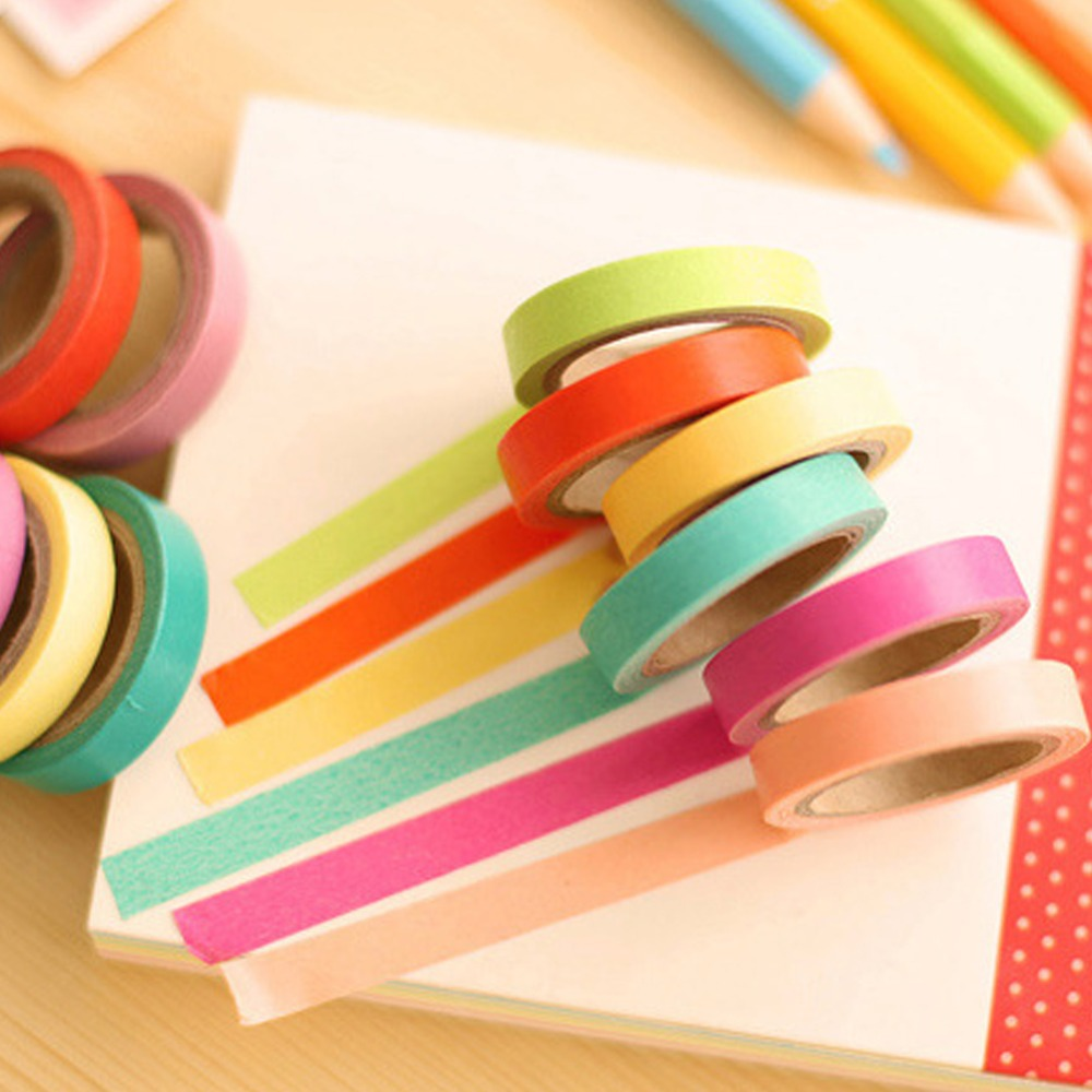 Multi-Color 10x Rainbow Sticky Paper Candy Masking Adhesive Decorative Tape Scrapbooking Card making DIY(China (Mainland))