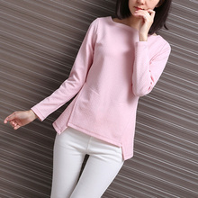 Korean Style Pink Boat Neck Shirt Slim Dobby Printed T-shirt Solid Color Pullover Long Sleeve Crochet Tshirt