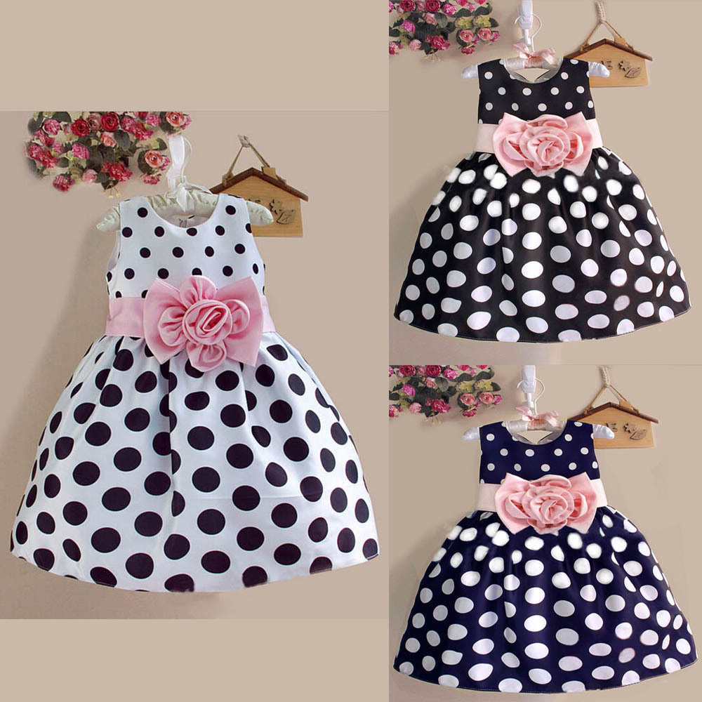 Гаджет  2015 New Stylish Kids Toddler Girls Princess Dress Sleeveless Polka Dots Bowknot Dress! 3 color Top quality Lovely Fashion HOT! None Детские товары