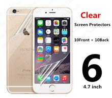 10pcs=5pcs Front & 5pcs Back Protective Film Anti Scratch Clear LCD Screen Protector Guard For iphone 6 4.7″ + Cloth