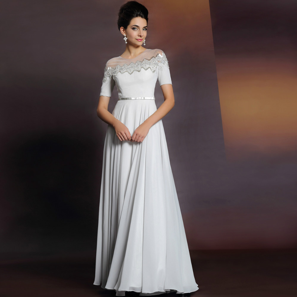 2015 autumn and winter elegant long evening dress white for Long elegant dresses for weddings