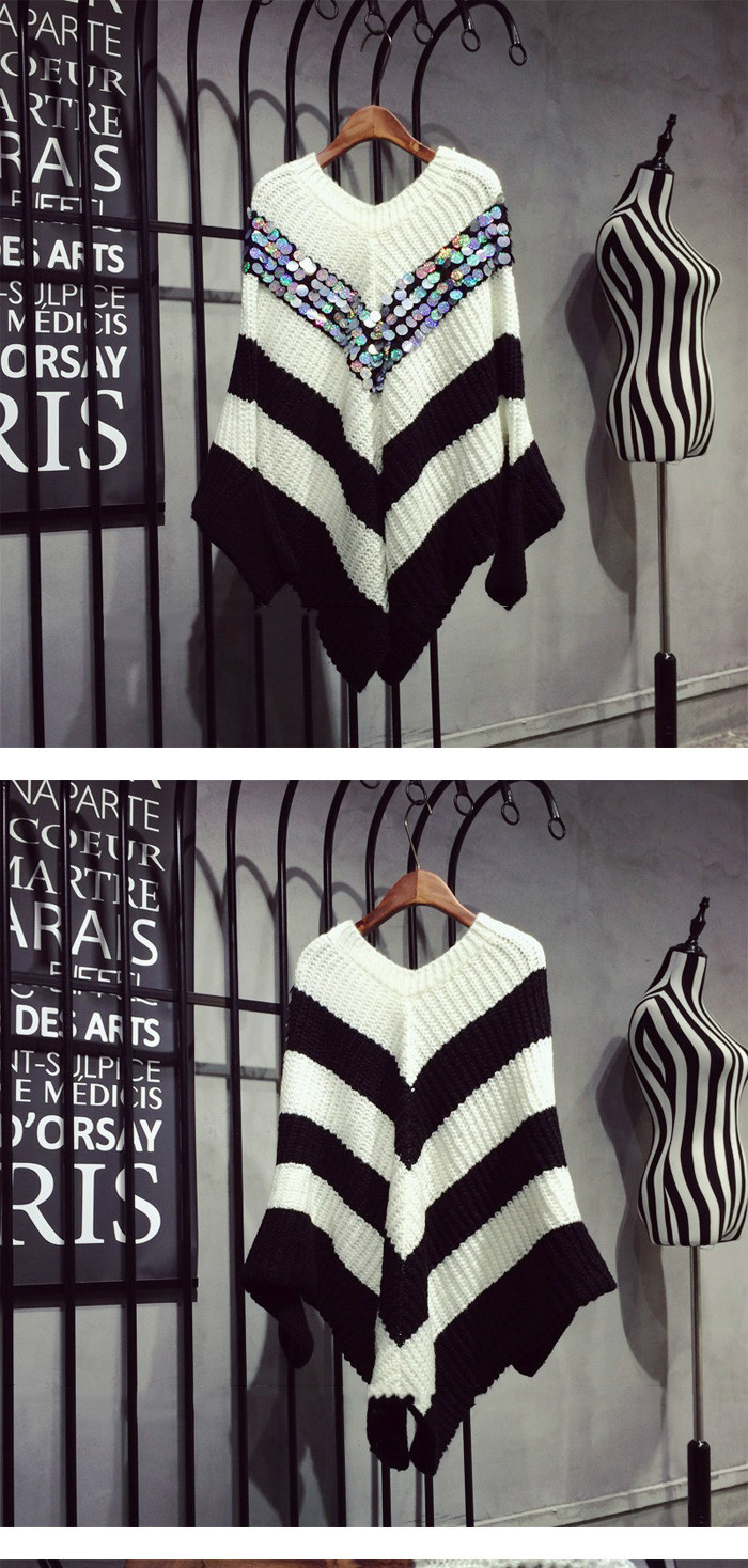 [soonyour] 2016 Autumn Fashion New Black And White Stripe Hit Color V Form Paillette Bat Type Loose Sweater Woman YD51701