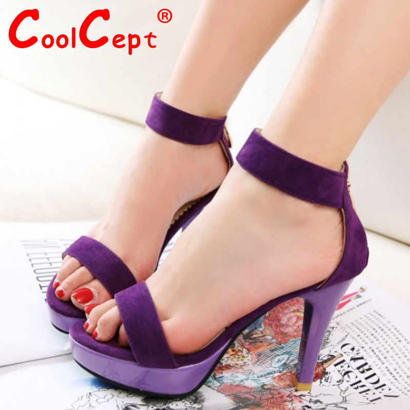 women stiletto peep open toe high heel sandals suede leather sexy party lady heeled escarpin heels shoes size 32-43 P18483<br><br>Aliexpress