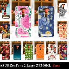 Case ASUS ZenFone 2 Laser ZE500KL Colorful Printing Drawing Transparent Plastic Mobile Phone Cover Hard Cases - Color Me Beauty store
