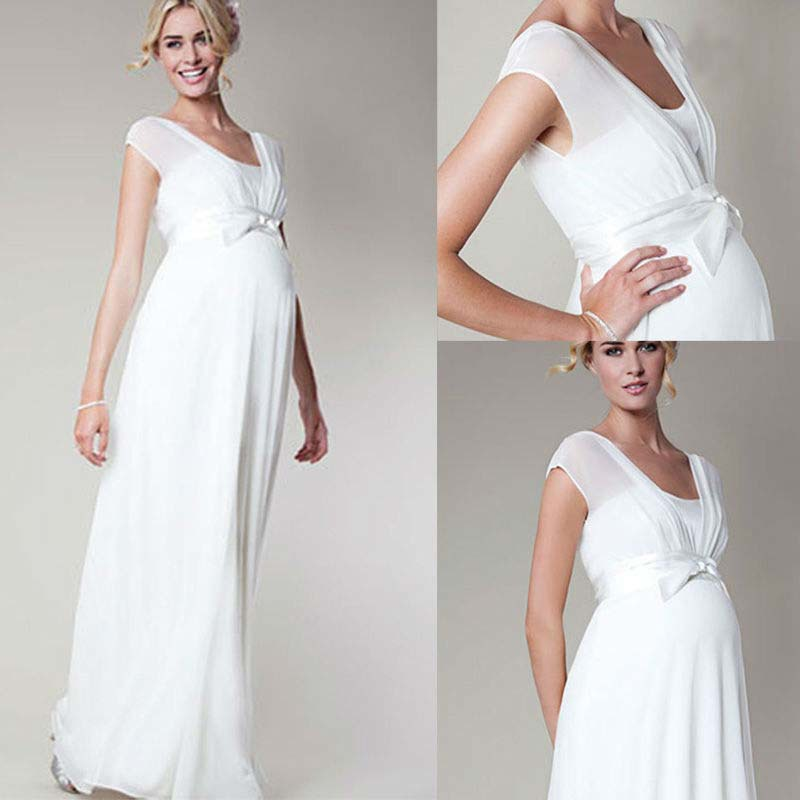 Lastest Darlingoddess Pregnant Wedding Dresses Elegant Long Sleeves Embroidery Beach Wedding Gowns ...