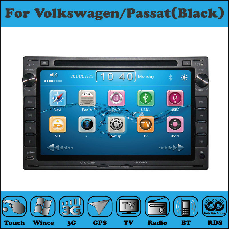 Balck 2 Din 7 Inch Car DVD Player For VW/Volkswagen/PASSAT/POLO/GOLF/JETTA With WIFI 3G Host GPS 1080P BT IPOD TV FM Free Map(China (Mainland))