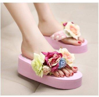 L6-059 6CM Summer Women's Slippers Handmade Custom Roses Thick Bottom Slope Flip Flops(Shoes Small Half Code) Size 35-40(China (Mainland))