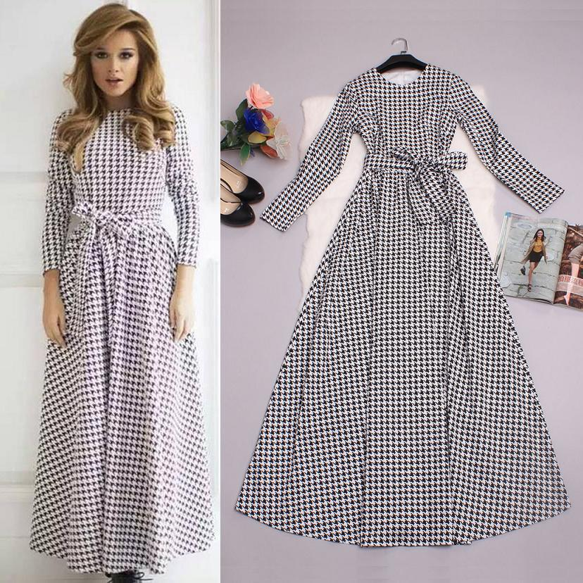 Best Quality Brand New Fashion 2015 Autumn Winter Long Dress Woman Grid Bird Plaid Print Long Sleeve Sashes Maxi Long Dress XL(China (Mainland))