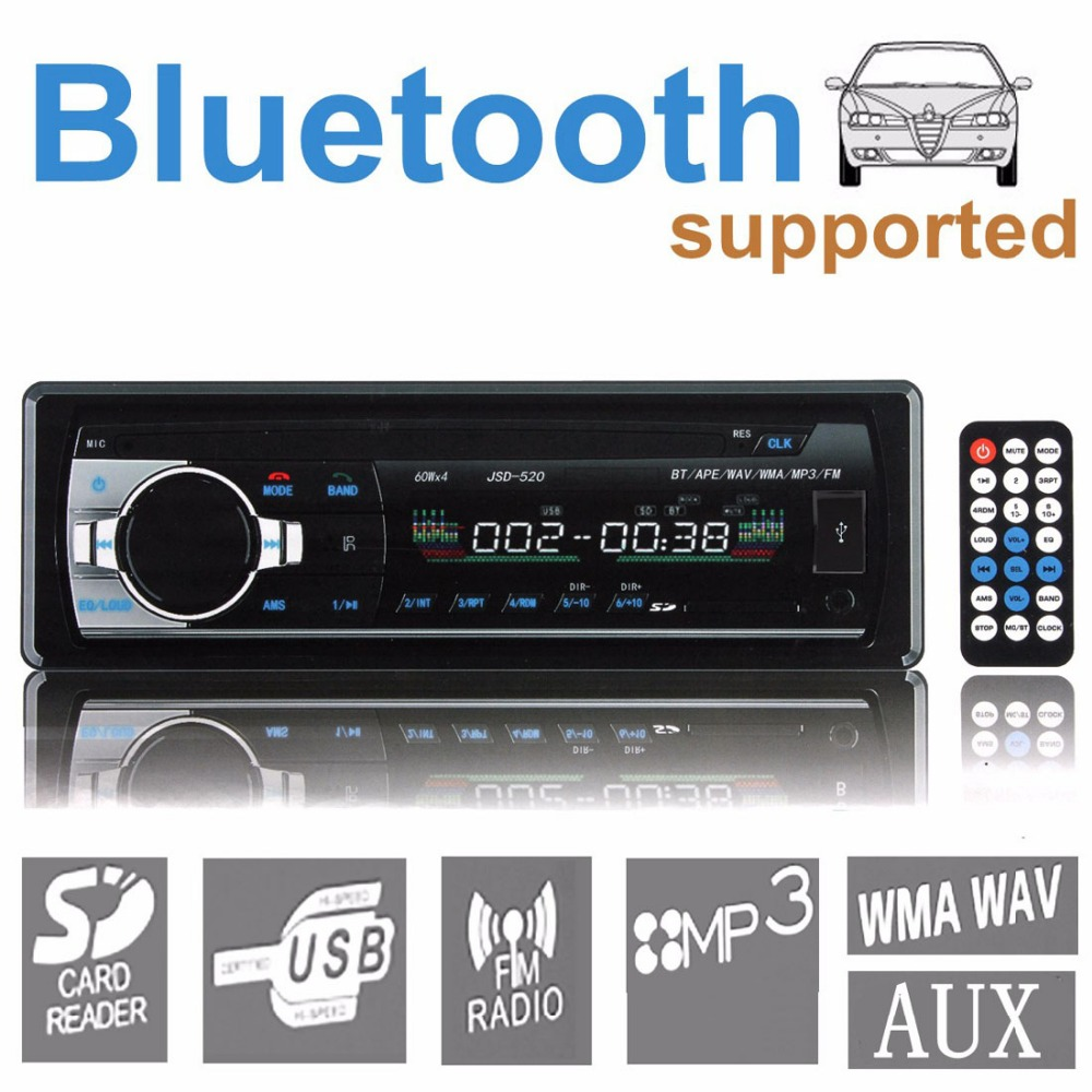 JSD-520 12V Bluetooth Stereo FM Radio MP3 Audio Player USB / SD / AUX / APE / FLAC Car Electronics Subwoofer In-Dash One DIN<br><br>Aliexpress