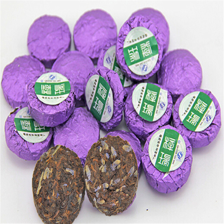 Ripe Mini Puerh Tea 2 Kinds of Flavor Lavender and Rose 20pcs Tuo Cha Tea Puer