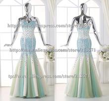 Real picture luxurious women long formal mermaid evening dress 2016 turquiose silk organza vestidos longos formatura custom size(China (Mainland))