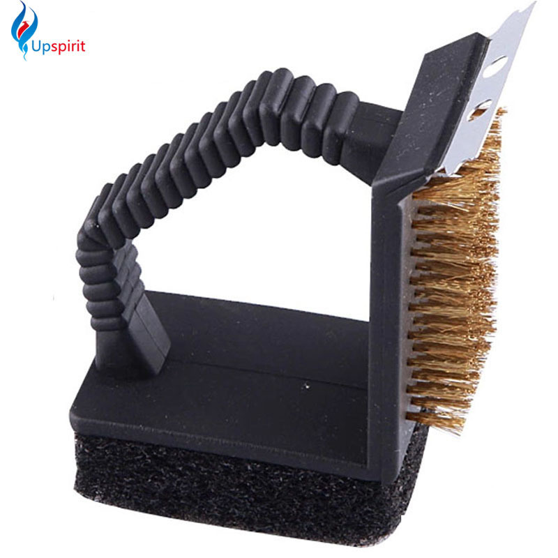 BBQ accessories triple barbecue grill brush copper steel cleaning brushes barbeque cleaner barbacoa churrasco cozinha necessaire(China (Mainland))