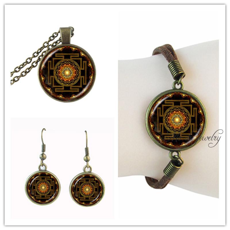vintage sri yantra necklace glass dome photo mandala