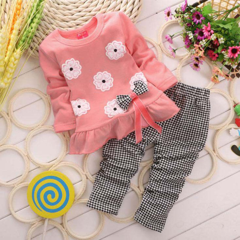 2016 New Flower Girls Clothes Baby Girl Clothing Set Bow Cute Suit 2pcs Kids Twinset Top T Shirt +Plaid Pants Leggings(China (Mainland))