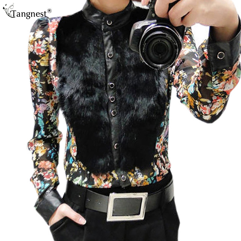 TANGNEST Winter Long Puff Sleeve Blouses 2016 New Flower Print Chiffon Faux Cony PU Leather Patchwork Shirts WCL444(China (Mainland))