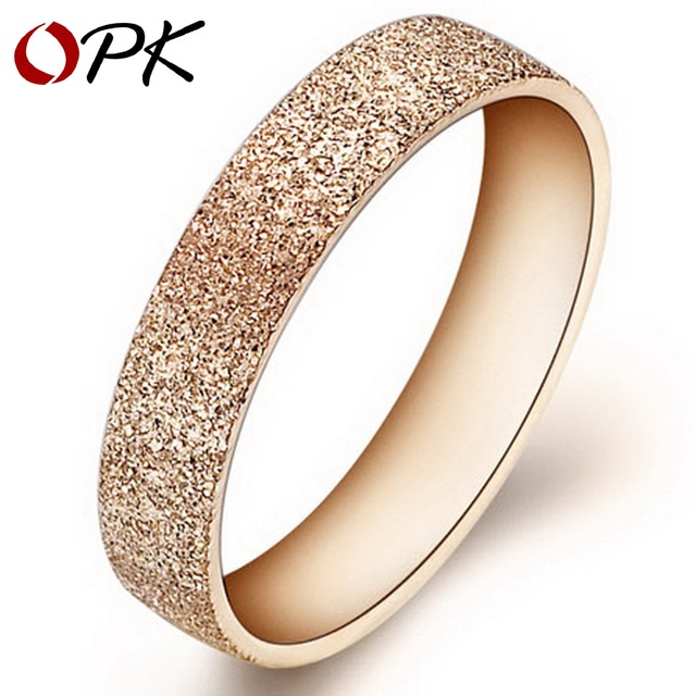 OPK JEWELRY 316L Stainless Steel Rings Circle 18K gold Plated dull polish Shiny  Wedding Rings for women size 5 6 7 8 9 10