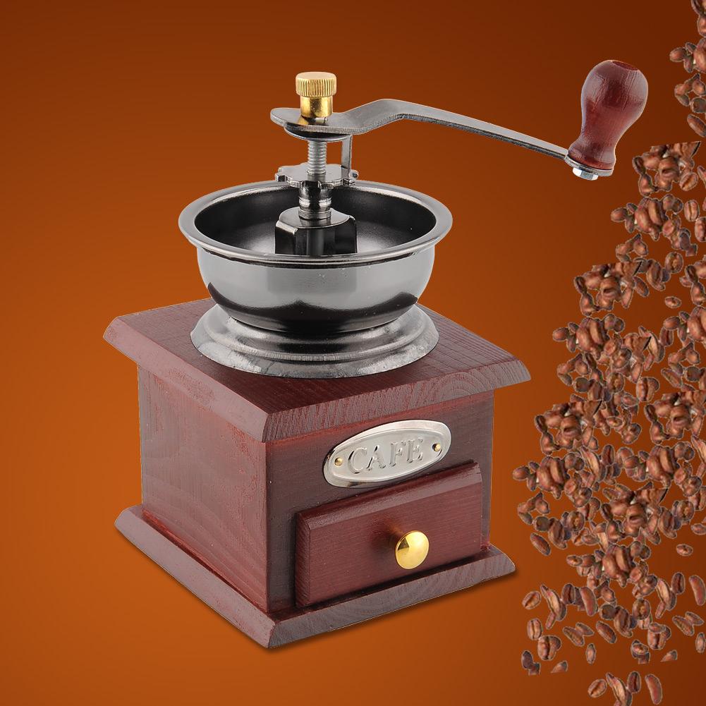 Гаджет  New Classic Wood Metal Manual Hand Operation Kitchens Coffee Bean Grinder Practical Coffee Mill Drawer Home None Бытовая техника