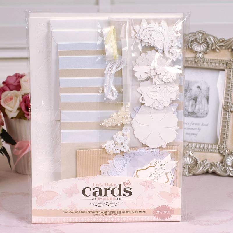 DIY Vintage Card Kit For Beginner,Kids Gift.Idea for birthday,wedding -12 Cards n Envelopes(China (Mainland))