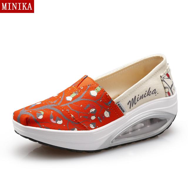 Женская мода клин обувь Новый 2016 Осень-весна женские ботинки высокая платформа ...