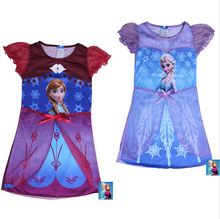 New 2015 Girls Dress Girl Elsa Anna Clothes Children Nightgown Fashion Girl Sleepwear Kids Clothes Kids Pajamas