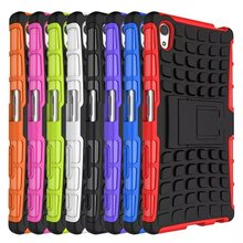 Tire Grain Silicone Heavy Duty Armor Shockproof Hard Case Sony Xperia Z2 Z3 Z4 Z5 mini Compact M4 M5 X XA Cover - May miky Glass screen Factory store