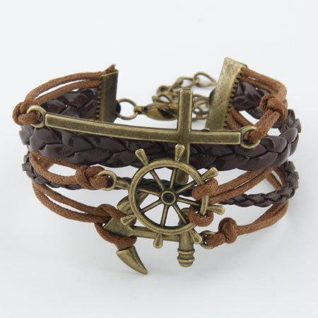 Men Jewelry Handmade PU Leather Bracelet Rope Vintage Infinity Love Rudder Anchor Charm bracelets bangles For Women Pulseiras(China (Mainland))