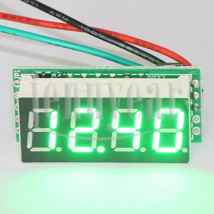 Digital Voltage Meter DC 0 ~30.00V Green Led Display Voltmeter DC 12V 24V Volt Meter for Motor /Motorcycle /Car/Battery etc(China (Mainland))