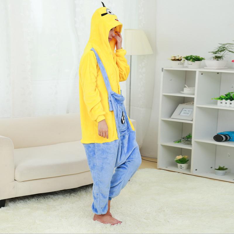 Unisex Flannel Adult Minion Pajamas Pyjamas Women Onesie Men Costume Cosplay Animal Onesies Cartoon Sleepwear High