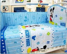 Promotion! 6PCS Mickey Mouse crib bedding sets for kids,baby crib bedding sets,baby care bed (bumpers+sheet+pillow cover)