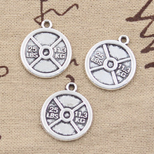 Buy 10pcs Charms barbell disc weight 25lbs 11.3kg 23*20mm Antique pendant fit,Vintage Tibetan Silver,DIY bracelet necklace for $1.83 in AliExpress store