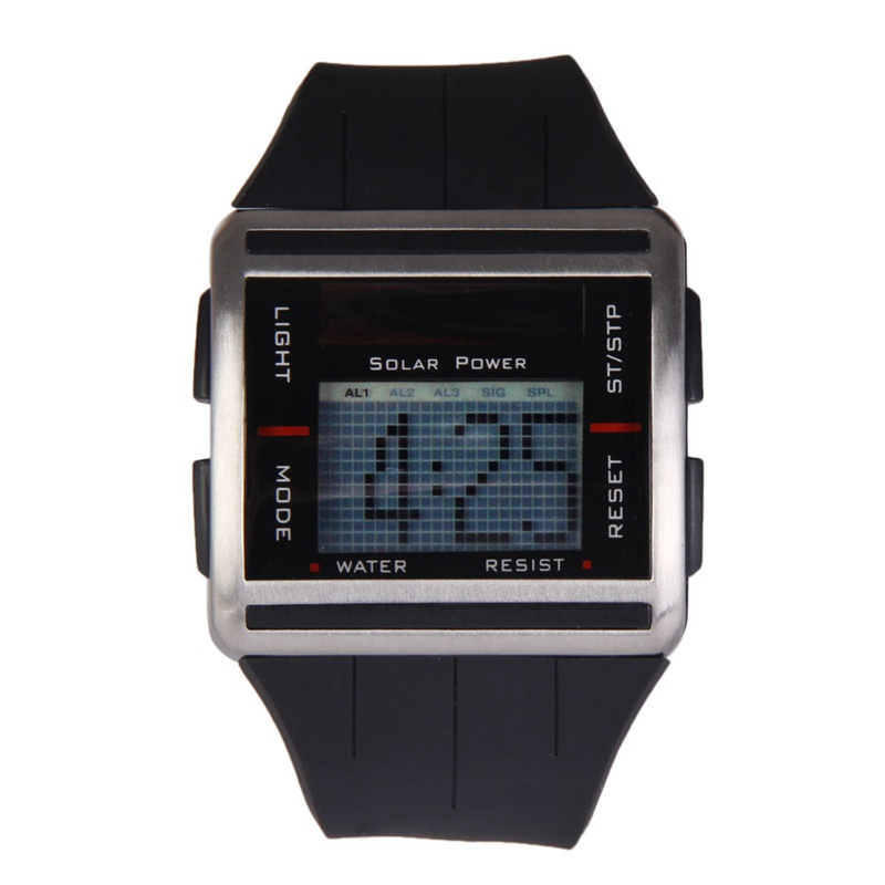 New Design Square Solar Powered Sports watches men Multifunction Scrolling Time Rolling Screen Electronic digital men's Watch(China (Mainland))