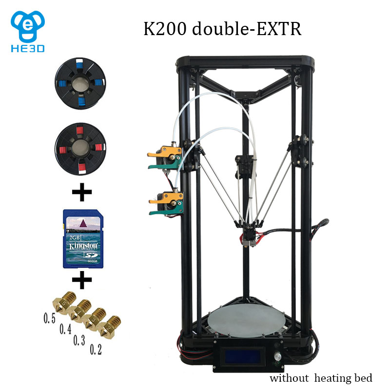 HE3D K200 delta dual extruder 3D printer printing size 200mm in diameter 300mm in height all injection plastics parts(China (Mainland))