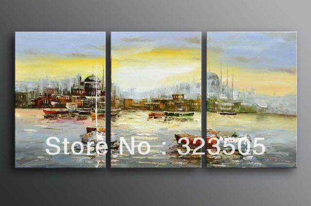 3  piece canvas wall art Modern abstract wall deco beach mediterranean sea oil painting set home deco living room free shipping