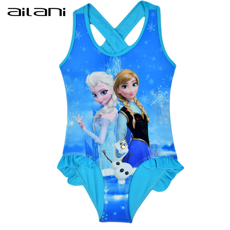 Elsa Anna Olaf Girls Bathing Suits 2016 New Child Ruffled Swimwear For Kids Girl Tankini Swimsuit maillot de bain enfant CL043(China (Mainland))