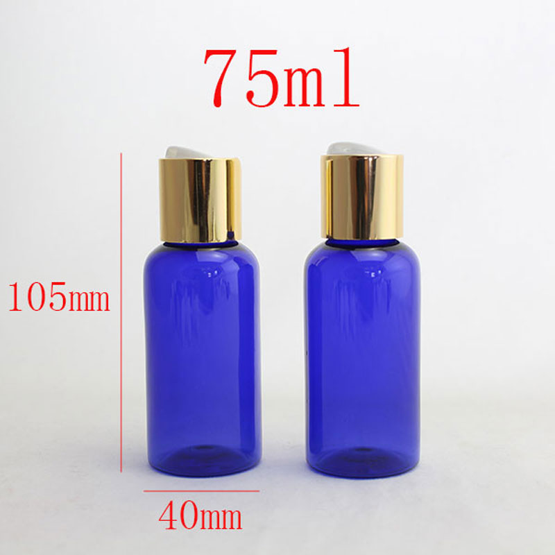 75ml X 30  empty round cosmetic plastic PET blue Bottle container with aluminum disc top cap,liquid soap lotion bottles gold cap<br><br>Aliexpress