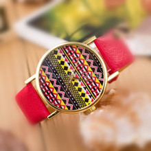 Combination of gold frame shell geometric similarity striped circular dial strap means for colorful fashion watches SB023P