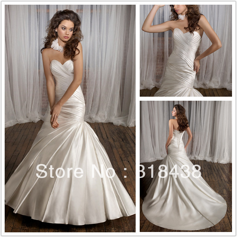 Newfree shipping ge 23 elegant mermaid sweetheart pleat for Off the shoulder taffeta wedding dress