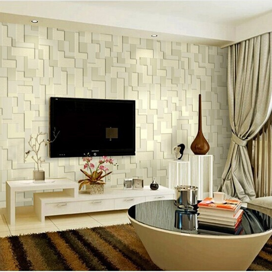 Mural embossed stereoscopic mosaic minimalist bedroom for Minimalist living bedroom