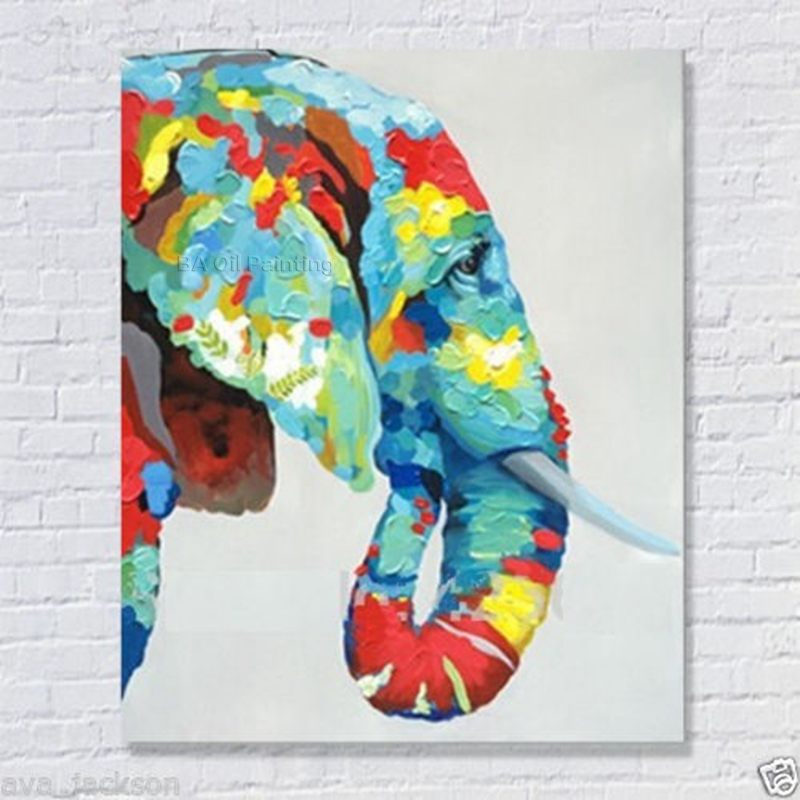 100% Handmade Decor Works High Quality Abstract Animal Modern Wall Art Elephant Oil Painting On Canvas For Wall Decor Artworks(China (Mainland))