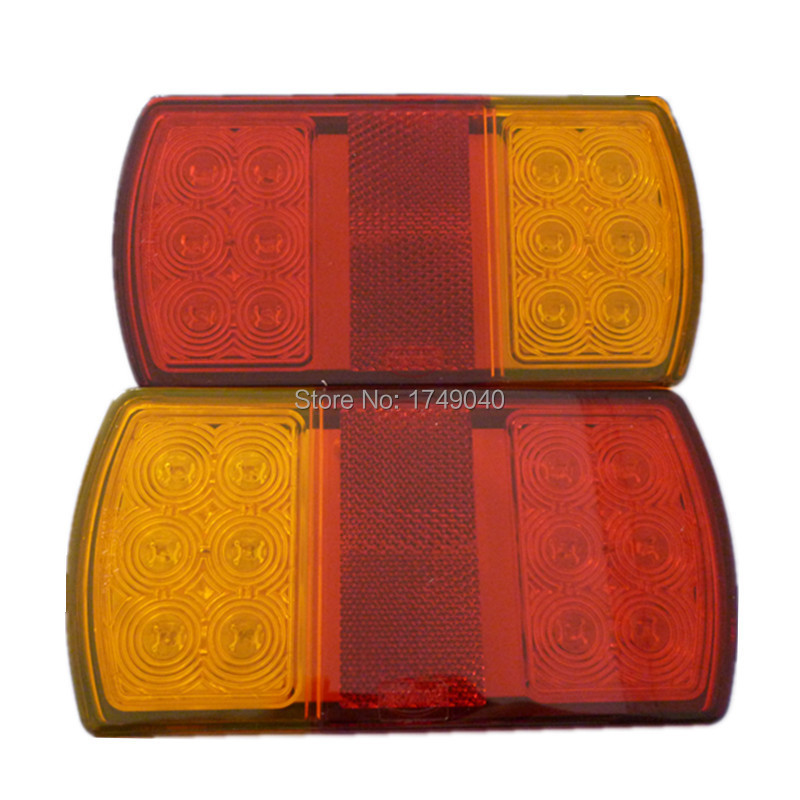 Universal 2PCS12V 2W 12LED Taillight Reverse Stop Reversing Turn Signal Tail Light Lamp For Truck Fire Truck Trailers Waterproof(China (Mainland))