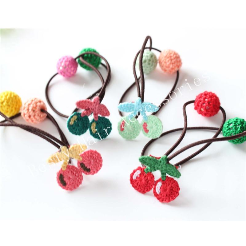 15Pcs/Lot Kids Girl's Knitting Cherry PonyTail Holder Elastic Hair Ring scrunch hair rope For Girl Hair Accessories Freeshipping(China (Mainland))